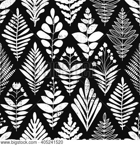 Abstract Leaves Background. Rhombus Shape Seamless Pattern Black And White. Monochrome Vector Illust