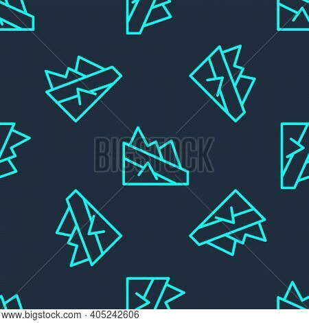 Green Line Mountain Descent Icon Isolated Seamless Pattern On Blue Background. Symbol Of Victory Or