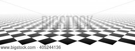 Checkered Tile Geometric Perspective Checkerboard Surface Material Vector Background Illustration.