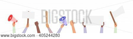 Hand Holding Protest Posters Vector Collection, Rebel Placards In Hands People Set Activist Crowd Il