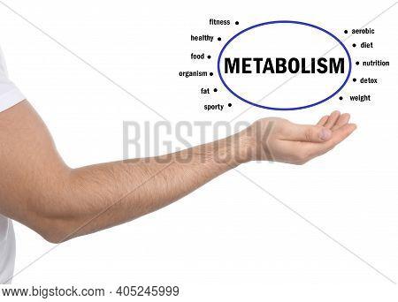 Metabolism Concept. Man Presenting Scheme On White Background, Closeup