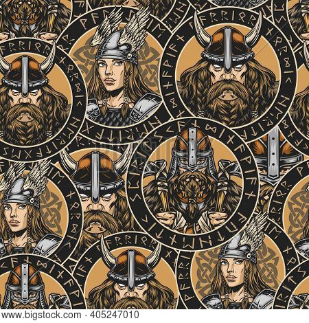 Viking Colorful Seamless Pattern In Vintage Style With Pretty Valkyrie In Winged Helmet And Metal Ar