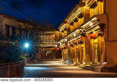 Scenic View Of The Dukezong Ancient Old Town At Twilight Time. Is The Historical Center Of Lijiang C