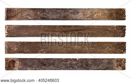 Empty Wooden Sign Board Isolated On White Background With Clipping Path. Old Plank Wood. Used For Mo