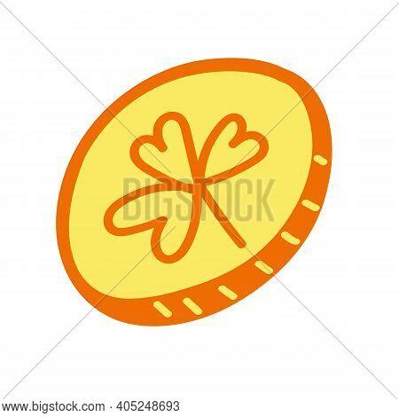 Leprechaun Gold With Shamrock. St. Patricks Day Simbol. Vector Hand Drawn Coin.