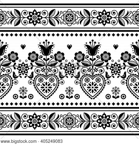 Scandinavian Folk Art Seamless Vector Pattern With Birds And Flowers, Nordic Repetitive Decoration W