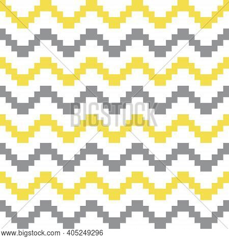 Geometric Seamless Pattern With Yellow And Gray Pixel Art Zigzag Lines On White. Abstract Chevron Ve