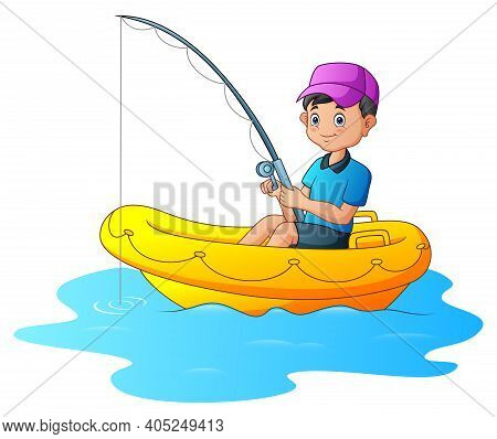 A Boy Fishing On The Inflatable Boat