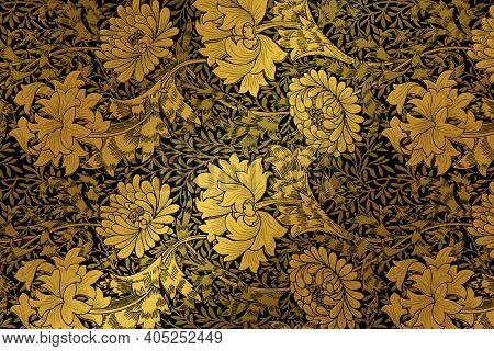 Vintage botanical pattern remix from artwork by William Morris