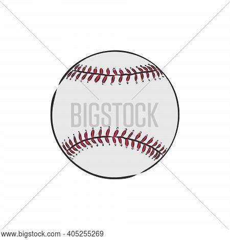 Baseball Ball On A White Background. Baseball Ball, Vector Illustration