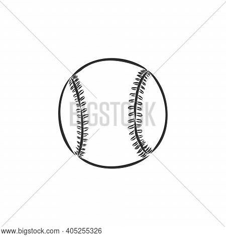 Image Of A Baseball Isolated In White Background. Baseball Ball, Vector Illustration