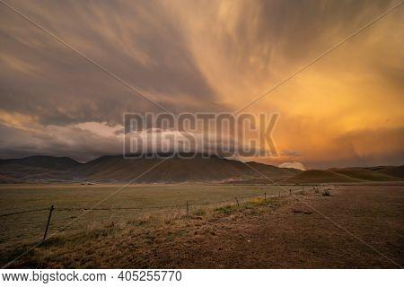 landscape near Castelluccio village in National Park Monte Sibillini, Umbria region, Italy