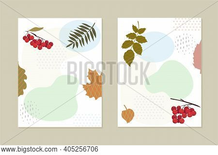 Set Of Cards, Invitations. Clusters Of Red Berries. Stylized Leaves Of Various Trees. Abstract Geome