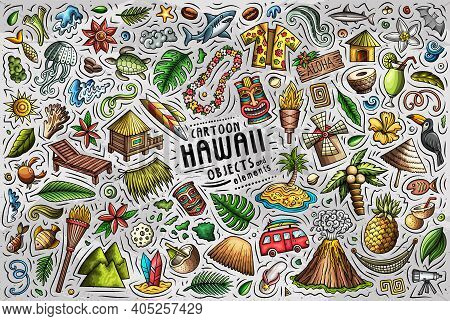 Colorful Vector Hand Drawn Doodle Cartoon Set Of Hawaii Theme Items, Objects And Symbols