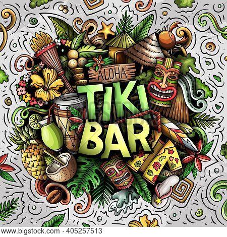 Tiki Bar Hand Drawn Cartoon Doodle Illustration. Funny Hawaiian Design. Creative Art Vector Backgrou