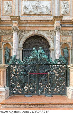 Venice, Italy - January 9, 2017: Closed Gate At St Mark Campanile Bell Tower Tourist Attraction In V