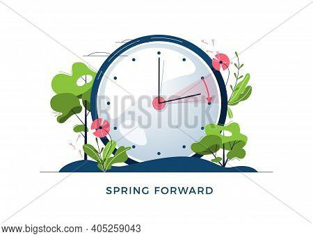 Daylight Saving Time Concept. The Clocks Moves Forward One Hour. Floral Landscape With Text Spring F