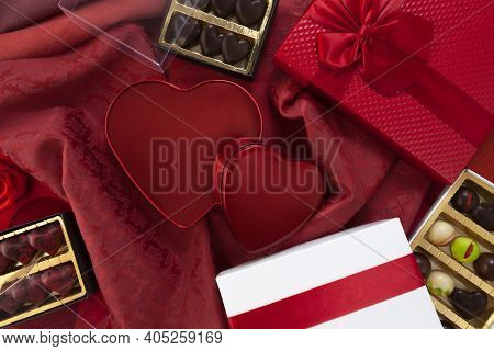 Valentines Day Background, Composition Of Gift Boxes Chocolates And Red Heart Metal Shaped Boxes, Wi