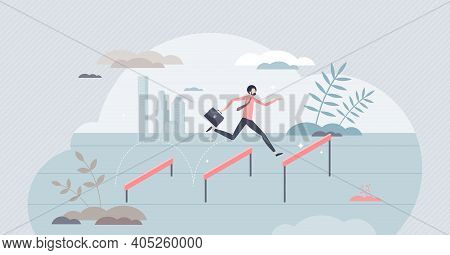 Jumping Over Hurdles As Business Challenge Obstacle Leap Tiny Person Concept