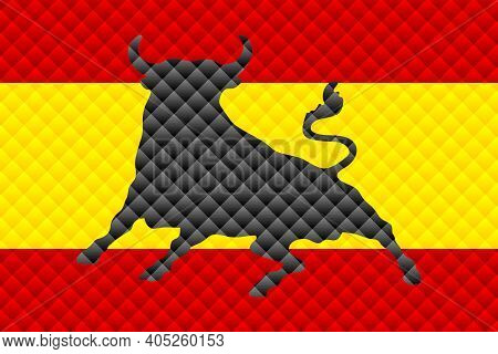 Mosaic Flag Of The Spain - Illustration,  Three Dimensional Flag Of Spain