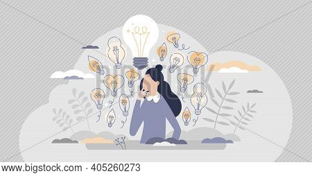 Gather Ideas Female As Creativity And Brainstorm Results Tiny Person Concept