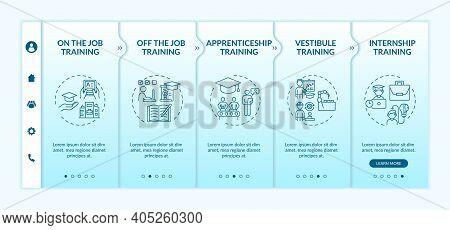 Employee Development Methods Onboarding Vector Template. Apprenticeship, Vestibule Training. Remote