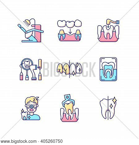 Dental Procedures Rgb Color Icons Set. Sleeping Dentistry. Orthodontics Practice. Dental Surgery. Pr