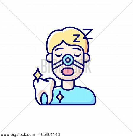 Sleeping Dentistry Rgb Color Icon. Professional Dentistry Occupation. Stomatology Sedation Practice.