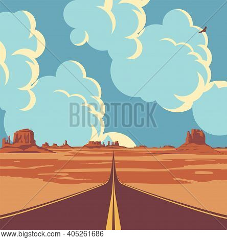 Vector Landscape With A Highway In The Desert And Mountains And With Clouds In Blue Sky. Summer Illu