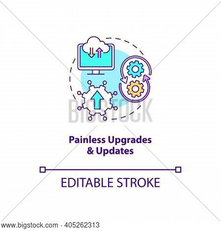 Painless Upgrades And Updates Concept Icon. Saas Advantage Idea Thin Line Illustration. No Patches F
