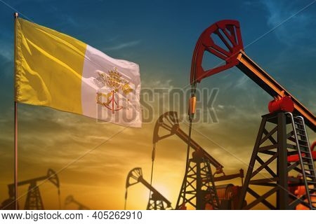 Holy See Oil Industry Concept, Industrial Illustration. Fluttering Holy See Flag And Oil Wells On Th