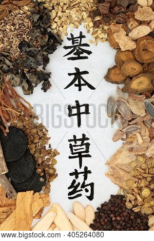Chinese fundamental herbs most frequently used in herbal medicine with calligraphy script on rice paper. Top view. Translation reads as chinese fundamental herbs.
