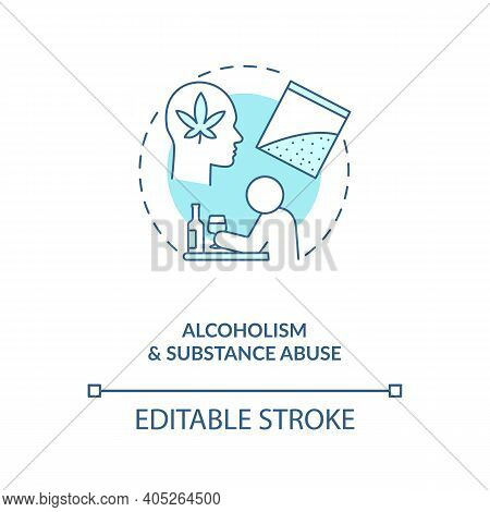 Alcoholism And Substance Abuse Turquoise Concept Icon. Drug Addiction. Bad Habit, Unhealthy Lifestyl