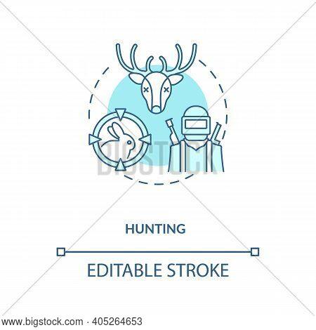 Hunting Turquoise Concept Icon. Killing Animals For Hobby. Seasonal Hunt For Reindeer, Rabbit. Gun V