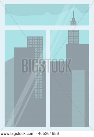 Window With High-rise City Buildings Outside. Urban Buildings With Sky, Looking Through Window At Ci