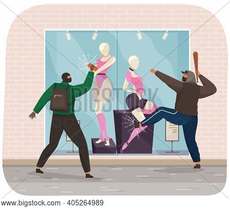 Thief Are Trying To Break Into A Shop With Mannequins And Clothes. Men Are Breaking Glass. Masked Pe