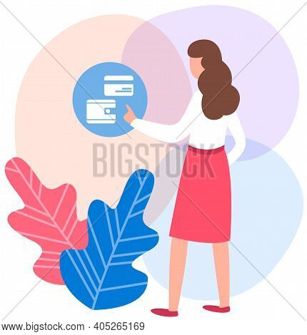 Woman Presses Button By On The Background. Girl Chooses To Pay For Purchases By Credit Card. Female