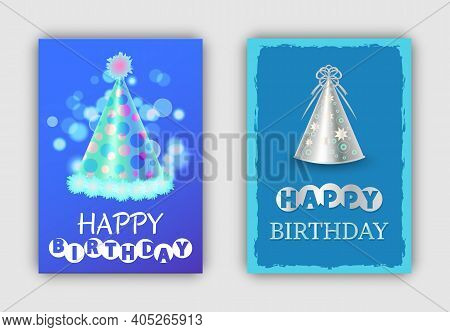 Happy Birthday Greeting Card With Lettering Design. Festive Party Hat Illustration In Blue Colours.