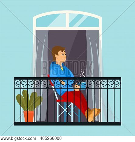 A Man In Quarantine Went Out On The Balcony To Drink His Morning Coffee, Sitting In A Comfortable Ch