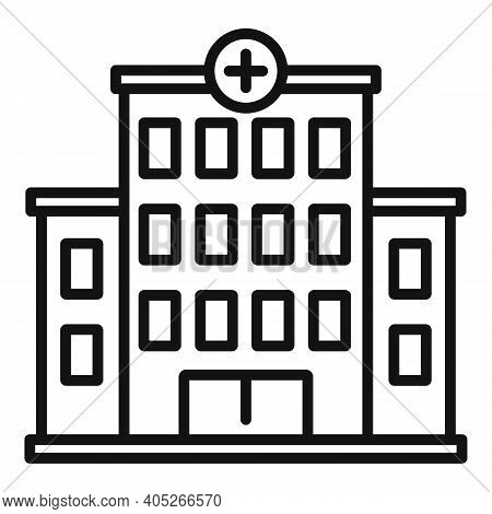 Hospital Building Icon. Outline Hospital Building Vector Icon For Web Design Isolated On White Backg