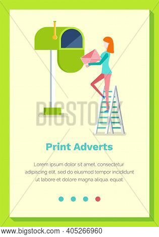 Print Adverts Web Page Or Site Flat Vector Illustration. Woman Sends Newspapers And Leaflets By Mail