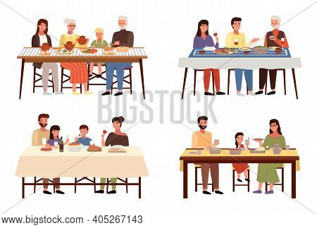 Set Of Illustrations On The Theme Of People Having A Family Dinner In The Traditional Styles Of The