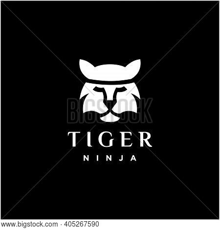 Ninja Tiger, Simple Tiger Face Logo Design With The Concept Of A Japanese Ninja