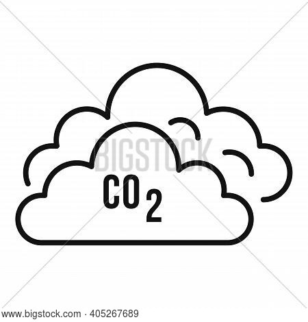 Co2 Clouds Icon. Outline Co2 Clouds Vector Icon For Web Design Isolated On White Background