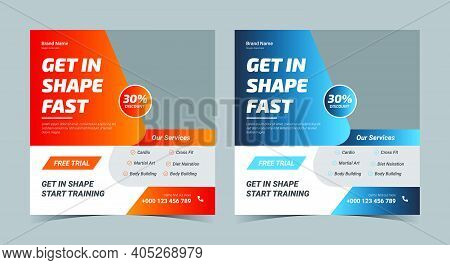 Gym Social Media Post And Flyer. Gym Flyer Design. Gym Promotion Social Media Post