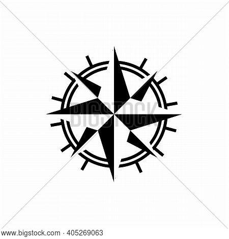 Compass Illustration With Mono Line Style Logo Design
