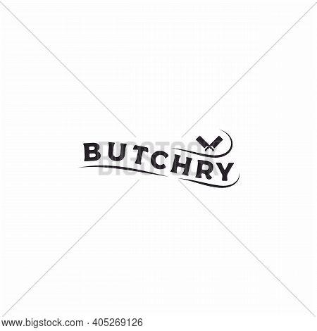 Vintage Retro Cleaver Crossed Sign For Butcher Butchery Meat Logo Design
