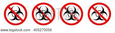 Stop Toxic Sign. Biohazard Icon. Warning Signs Set. Toxic Substances Are Prohibited. Vector Illustra