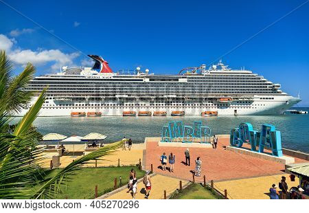 Amber Cove, Puerto Plata, Dominican Republic - March 26, 2019: Cruise Ship Carnival Magic Docked At