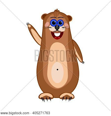 Groundhog Isolated On White Background. Cute Cartoon Marmot. Groundhog Day. Funny Brown Gopher Wavin